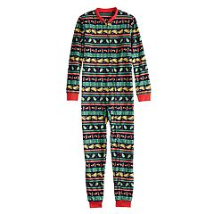 Kids 4-20 Jammies For Your Families Holiday Taco Party Fairisle Microfleece One-Piece Pajamas