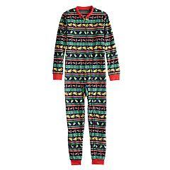 Kids 4-20 Jammies For Your Families Holiday Taco Party Fairisle Microfleece One-Piece Pajamas