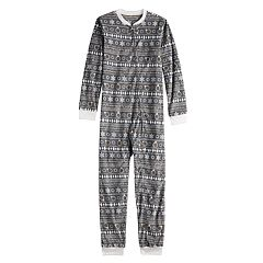 Kids 4-20 Jammies For Your Families 12 Days of Christmas Five Golden Rings Fairisle Microfleece One-Piece Pajamas