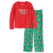 "Girls 7-16 Jammies For Your Families ""Santa's Fave"" Top & Santa Microfleece Bottoms Pajama Set"