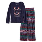 Girls 7-16 Jammies For Your Families Gingerbread Man Holiday Top & Fairisle Microfleece Bottoms Pajama Set