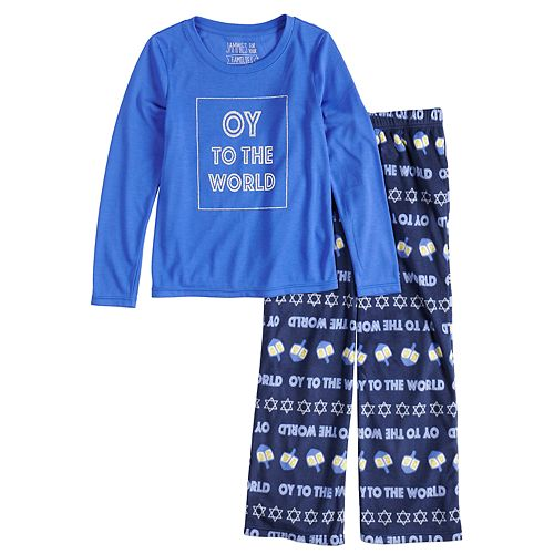 "Girls 7-16 Jammies For Your Families Hanukkah ""Oy to the World"" Top & Microfleece Bottoms Pajama Set"