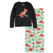 "Girls 7-16 Jammies For Your Families Dino ""Rawr to the World"" Top & Microfleece Bottoms Pajama Set"