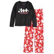 "Girls 7-16 Jammies For Your Families ""Yeti For Christmas"" Top & Microfleece Bottoms Pajama Set"
