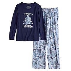 Girls 7-16 Jammies For Your Families Holiday Camouflage 'Wander in a Winter Wonderland' Top & Microfleece Bottoms Pajama Set