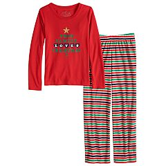 Girls 7-16 Jammies For Your Families 'This Family Loves Christmas' Top & Microfleece Striped Bottoms Pajama Set