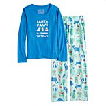 "Girls 7-16 Jammies For Your Families ""Santa Paws is Coming to Town"" Top & Microfleece Dog & Cat Pattern Bottoms Pajama Set"