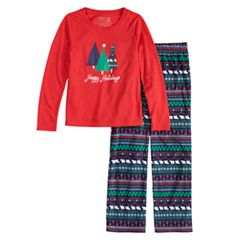 1f38512f32 Girls 7-16 Jammies For Your Families Happy Holidays Family Pajamas Top    Microfleece Bottoms