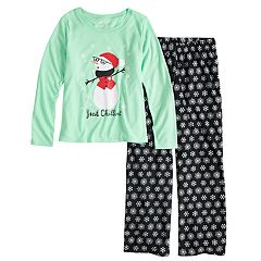 Girls 7-16 Jammies For Your Families Snowman & Snowflakes 'Just Chillin'' Top & Microfleece Bottoms Pajama Set