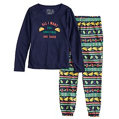Girls 4-16 Jammies For Your Families 'Guacin' Around the Christmas Tree' Top & Holiday Taco Party Fairisle Jogger Pants Set