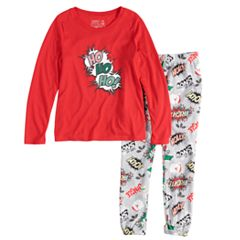 Girls 7-16 Jammies For Your Families 'Ho Ho Ho!' Comic Book Top & Microfleece Jogger Pants Pajama Set