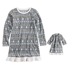 Girls 4-16 Jammies For Your Families 12 Days of Christmas Five Golden Rings Fairisle Microfleece Nightgown & Doll Gown Pajama Set