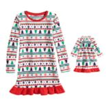 Girls 4-16 Jammies For Your Families Fairisle Microfleece Nightgown & Dorm Gown Pajama Set