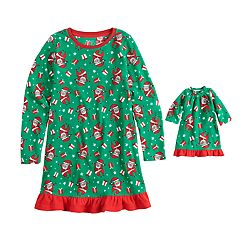 Girls 4-16 Jammies For Your Families Santa Microfleece Nightgown & Doll Gown Pajama Set