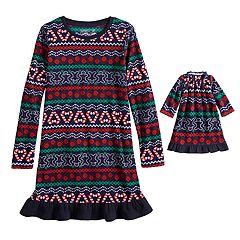 Girls 4-16 Jammies For Your Families Gingerbread Man Holiday Fairisle Microfleece Nightgown & Doll Gown Set