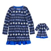 """Girls 4-16 Jammies For Your Families Hanukkah """"Oy to the World"""" Microfleece Nightgown & Doll Gown Pajama Set"""