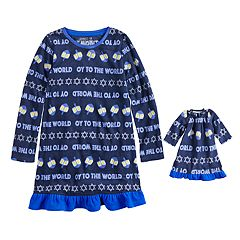 Girls 4-16 Jammies For Your Families Hanukkah 'Oy to the World' Microfleece Nightgown & Doll Gown Pajama Set