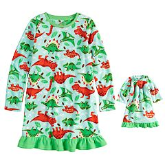Girls 4-16 Jammies For Your Families Dino Microfleece Nightgown & Doll Gown Pajama Set