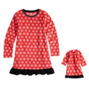 Girls 4-16 Jammies For Your Families Snowflakes Microfleece Nightgown & Doll Gown Pajama Set