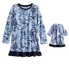 Girls 4-16 Jammies For Your Families Holiday Camouflage Microfleece Nightgown & Doll Gown Pajama Set