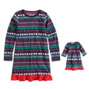 Girls 7-16 Jammies For Your Families Happy Holidays Fairisle Family Pajamas Microfleece Nightgown & Doll Gown Set
