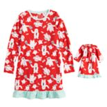 Girls 4-16 Jammies For Your Families Microfleece Yeti Pattern Nightgown & Doll Gown Pajama Set