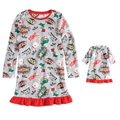 Girls 4-16 Jammies For Your Families Comic Book Microfleece Nightgown & Doll Gown Set