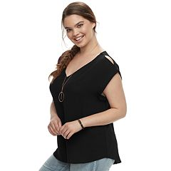 Juniors' Plus Size Liberty Love Crepe Top & Necklace Set
