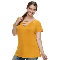 Juniors' Plus Size Liberty Love Ladder Neckline Top