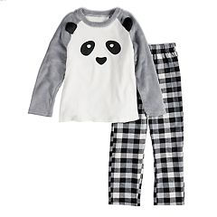 Kids 4-20 Jammies For Your Families Panda Bear Microfleece Top & Plaid Bottoms Pajama Set