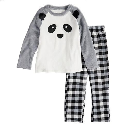 66dbbab31917 Kids 4-20 Jammies For Your Families Panda Bear Microfleece Top   Plaid  Bottoms Pajama Set