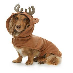 Pet Jammies For Your Families Reindeer Microfleece Bodysuit