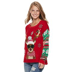 Juniors' It's Our Time Reindeer Sunglasses Christmas Sweater