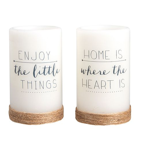 """Laura Ashley Lifestyles """"Home"""" Rustic LED Candle 2-piece Set"""