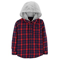 Boys 4-12 Carter's Hooded Button Down Flannel Shirt