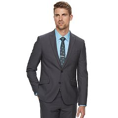 Men's Savile Row Slim-Fit Textured Charcoal Suit Jacket