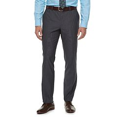 Men's Savile Row Slim-Fit Textured Charcoal Flat-Front Suit Pants