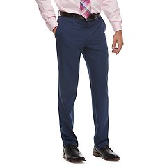 Men's Savile Row Slim-Fit Blue Flat-Front Suit Pants
