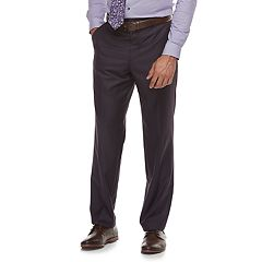 Men's Savile Row Modern-Fit Purple Flat-Front Suit Pants