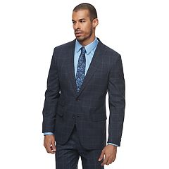 Men's Savile Row Modern-Fit Windowpane Blue Suit Jacket