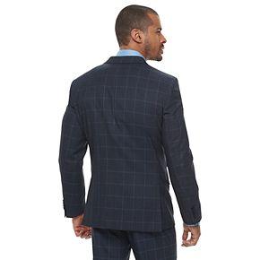 Men's Savile Row Modern-Fit Windowpane Blue Suit Jacket