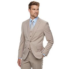 Men's Savile Row Modern-Fit Striped Tan Suit Jacket