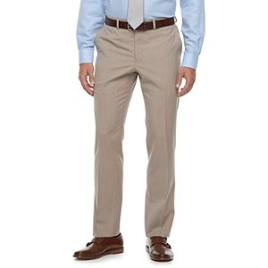 Men's Savile Row Modern-Fit Striped Tan Flat-Front Suit Pants