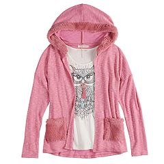 Girls 7-16 & Plus Size Self Esteem Hooded Cardigan & Tank Top Set with Necklace