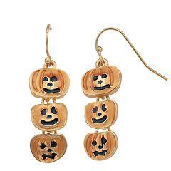 Gold Tone Nickel Free Triple Pumpkin Drop Earrings