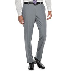 Men's Savile Row Slim-Fit Light Gray Flat-Front Suit Pants