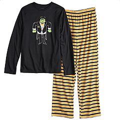 Boys 4-20 Jammies For Your Families Halloween Top & Microfleece Striped Bottoms Pajama Set