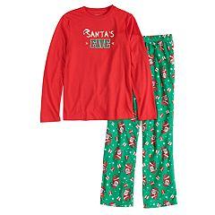 Boys 4-20 Jammies For Your Families 'Santa's Fave' Top & Santa Microfleece Bottoms Pajama Set