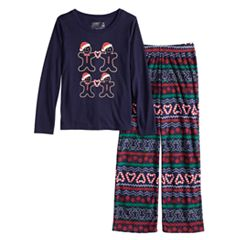 a202bb2671 Boys 4-20 Jammies For Your Families Gingerbread Man Holiday Top   Fairisle  Microfleece Bottoms