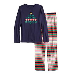 Boys 4-20 Jammies For Your Families 'This Family Loves Christmas' Top & Microfleece Striped Bottoms Pajama Set
